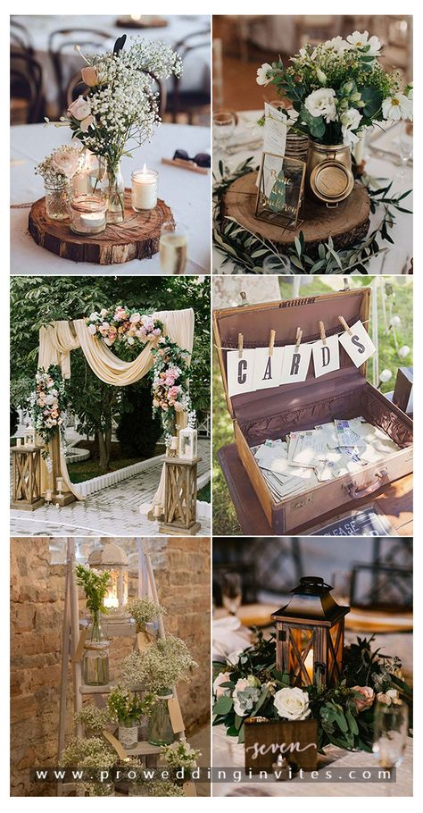 30 Most Popular Rustic & Vintage Wedding Ideas for 2020 Rustic Wedding Backdrops, Barn Wedding Decorations, Wedding Centerpieces, Wedding Table, Wedding Ideas, Wedding Photos, Table Decorations, Botanical Wedding Theme, Vintage Wedding Theme