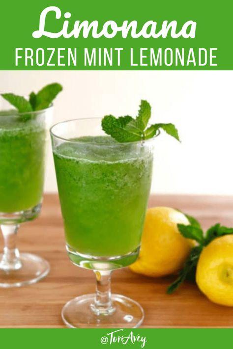 Limonana - Simple, sweet, refreshing Middle Eastern slushy drink with lemon and mint. Only takes 5 minutes to make! | ToriAvey.com #limonana #lemonade #mint #frozendrinks #easyrecipe #simplerecipe #vegan #kosher #pareve #mocktail #TorisKitchen