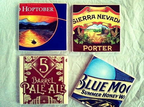 Make coasters out of tiles and beer boxes for him. Could also find any paper to match any room.