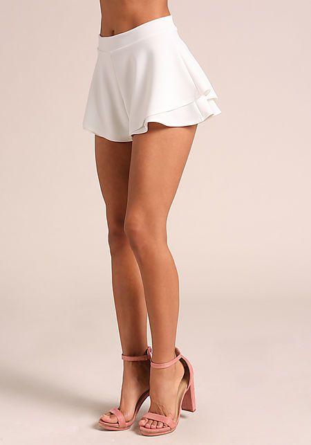 14f49cd0db063 Junior Clothing   Ivory Layered Flared Shorts - Shorts - Bottoms ...