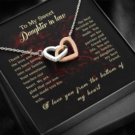Wow picks! Personalized Daughter In Law Necklace for Her Birthday Valentines Gift Love Interlocking Hearts Necklace for Women with Message Card at $49.95 Choose your wows. 🐕