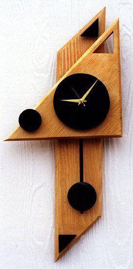 Black And Red Wood Clocks Modern Clock Geometric Wall Clocks Pendulumclock Wood Hand Crafted Wall Clock Design Clock Decor Retro Wall Clock