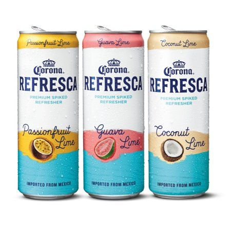Corona Refresca Variety Pack Spiked Tropical Cocktail 12 Pk 12 Fl Oz Cans 4 5 Abv With Guava Lime Passionfruit Lime And Coconut Lime Walmart Com Mexican Beer Flavored Beer Beer Ingredients