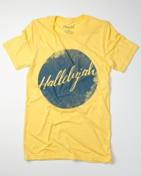 """This is a super-soft tri-blend t-shirt with our """"Hallelujah""""design. This item is Unisex and runs True to Size. *Tri-golden yellow with navy design. Size Bust/"""