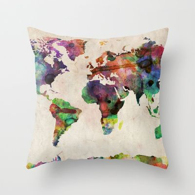 World Map Urban Watercolor Throw Pillow by ArtPause - $20.00