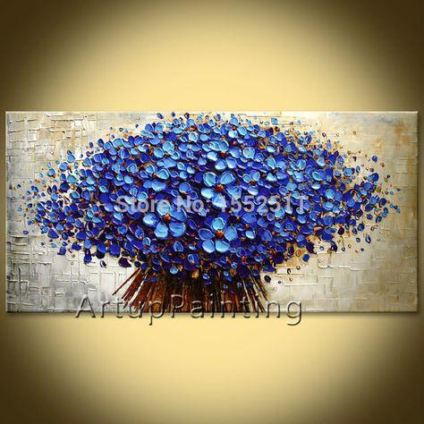 Flor de pared Pintados a mano Imagen quadros cuadros cuchillo de paleta de pintura al óleo abstracta lienzo Arte moderno Hogar decorar la sala de estar en Pintura y Caligrafía de Hogar y Jardín en AliExpress.com | Alibaba Group