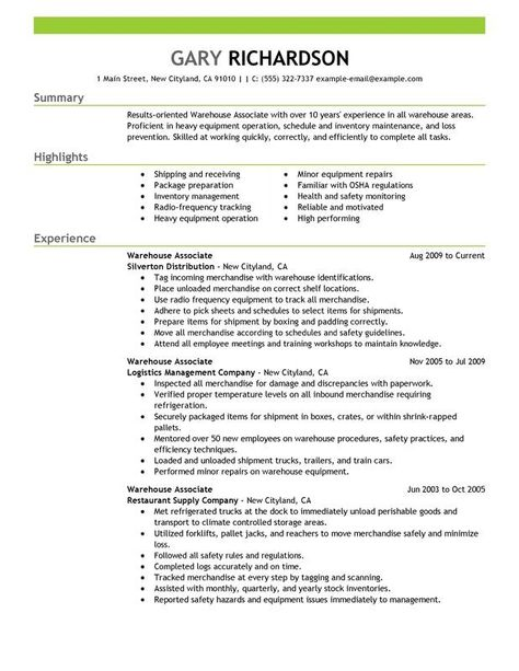 Resume  Engineering Resume Example Sample Engineering Resume - resume for warehouse associate