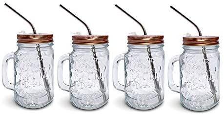 Amazon Com Mason Jar Mugs With Handle Regular Mouth Colorful Lids With 2 Reusable Stainless Steel Straw Set Mason Jar Mugs Stainless Steel Straws Mason Jars