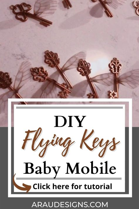 DIY Baby Mobile: Harry Potter Theme with Flying Keys and The Golden Snitch by AraUDesigns DIY Crafts for Wedding, Baby, and Home Decor. Want a Harry Potter theme for your nursery, but don't have enough galleon to spend? Learn how to make this magical baby mobile with tutorials and videos FOUND HERE! It is an easy and simple tutorial your little Wizard will love! Welcome your new little girl or boy with this easy and simple DIY. Visit Araudesigns. com for more DIY ideas! #Araudesigns #diy #baby