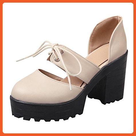 df0a33d0e467a Show Shine Women's High Heel Lacing Up Platform Loafers Shoes (8.5 ...