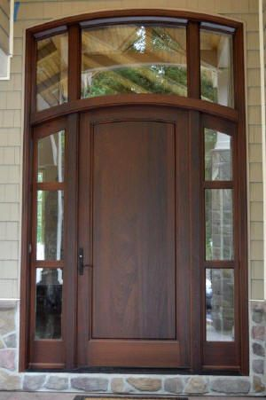 Solid Mahogany Front Entry Door With 3 Lite Side Windows And