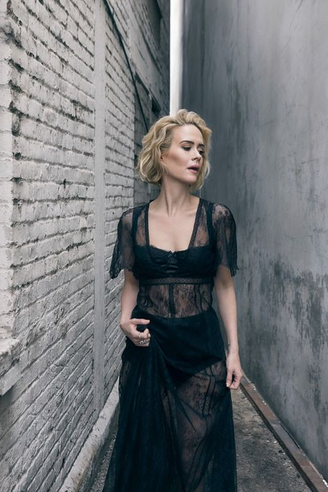 Sarah Paulson wears a black sheer lace dress with bra and underwear for No Tofu Magazine May 2016 issue