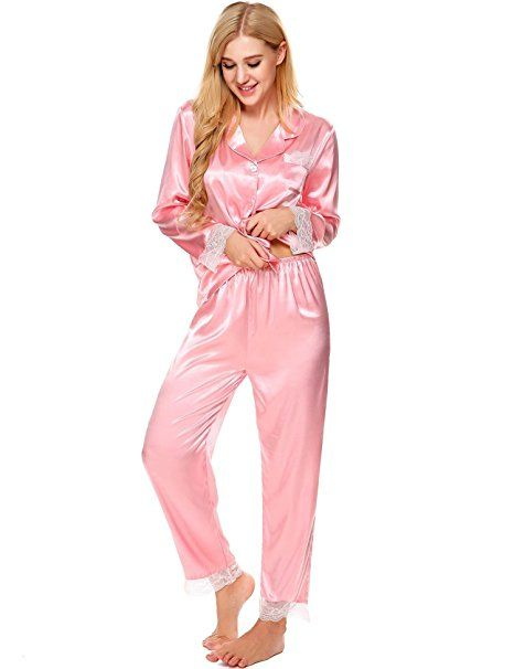 59f1ed8796 ADOME Damen Schlafanzug Satin V-Ausschnitt Pyjama Set Langarm Nachtwäsche  Knopfleiste Zweiteiliger Große Größen Schwarz/Rot/Bla… | Pyjama Trends  Frauen in ...