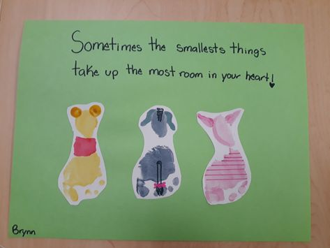 Winnie The Pooh Piglet And Eeyore Footprint Craft Footprint Crafts Footprint Art Crafts