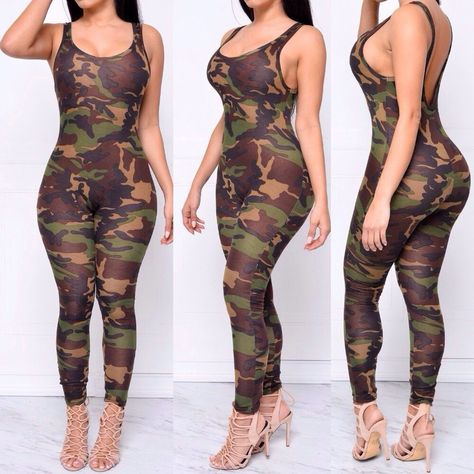Item Type: Jumpsuits & Rompers Gender: Women Decoration: Hollow Out Fit Type: Skinny Pattern Type: Print Style: Fashion Type: Jumpsuits Fabric Type: Broadcloth Material: Cotton,Polyester Length: Full Length Color: Army Camouflage