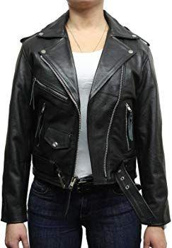 Women's Leather Biker Jacket Black Brando Vintage BNWT (14