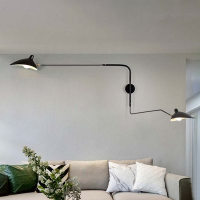 Swing Arm Wall Mount Light With Duckbill Shade Modern Chic Metallic 2 Led Wall Lights Wall Mounted Light Wall Lights