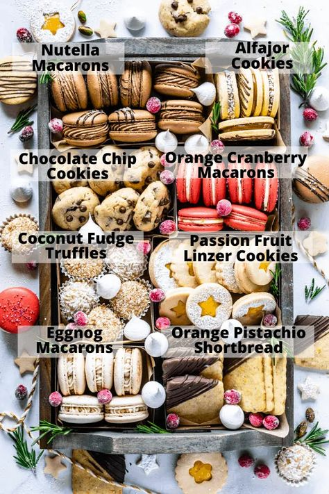 Christmas Cookie Box #christmas #cookie #box #cookiebox #cookieexchange #holidaybaking #christmasbaking #christmascookies #macaron #alfajor #chocolatechip #shortbread #truffles #linzer #meringue