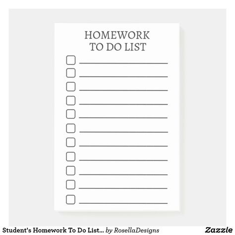 Student S Homework To Do List Modern Post It Notes To Do Lists