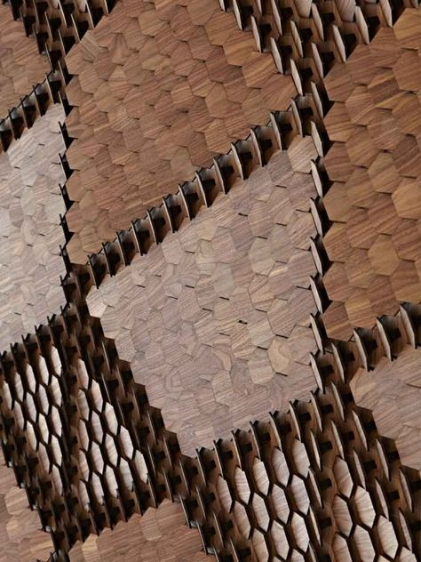 Giles Miller - hexagonal walnut tiles