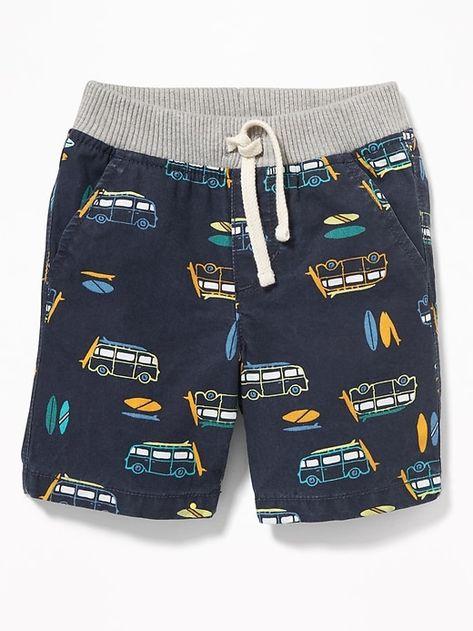 Rib Knit Waist Canvas Shorts for Toddler Boys | Toddler boy
