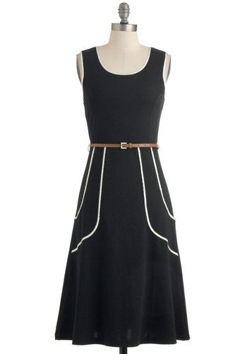 Outline of Work Dress in Black - Black, White, Solid, Work, Tank top (2 thick straps), Belted, Woven, Casual, Best Seller, Long