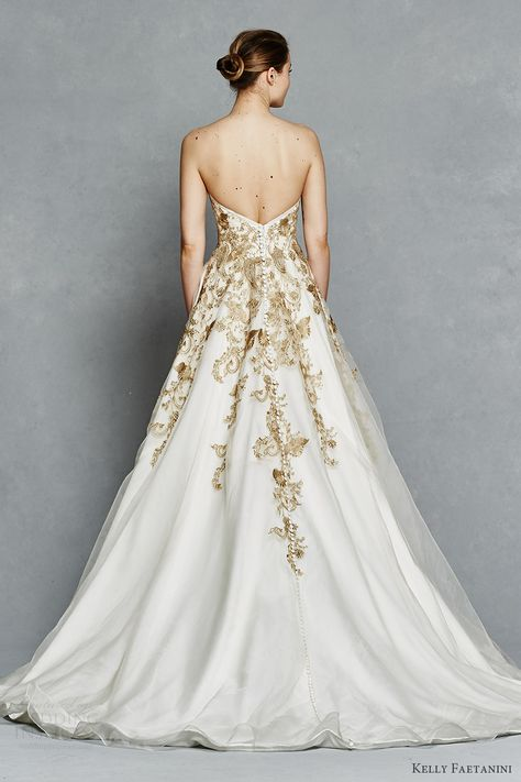 48740b879 kelly faetanini bridal spring 2017 strapless sweetheart ball gown wedding  dress (leona) bv gold color embroidery pockets