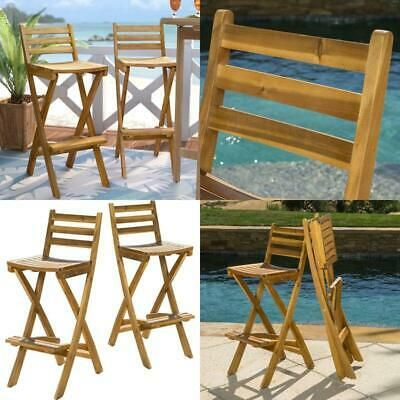 Details About 31 Acacia Patio Bar Stool Set Of 2 In 2020 Patio Bar Stools Outdoor Furniture Sets Outdoor Bar Area