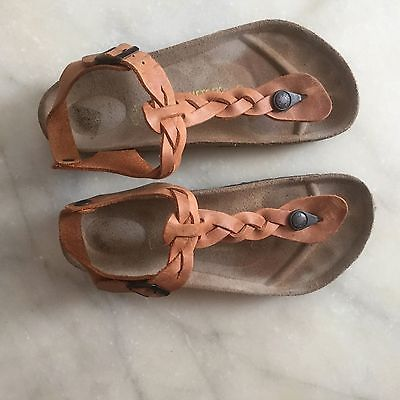 3c012ea52e6 Birkenstock Gizeh Womens Size 38 Tan Braided Leather Sandals Shoes ...