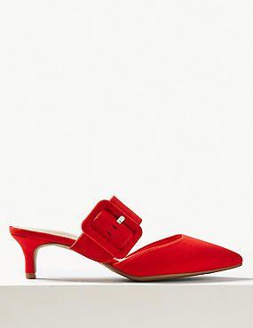 Extra Wide Fit Kitten Heel Mule Shoes