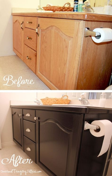 Get rid of that builder grade oak! Use GEL stain. See: http://www.onegoodthingbyjillee.com/2012/09/bathroom-cabinets-makeover-my-first-ever-grown-up-diy-project.html