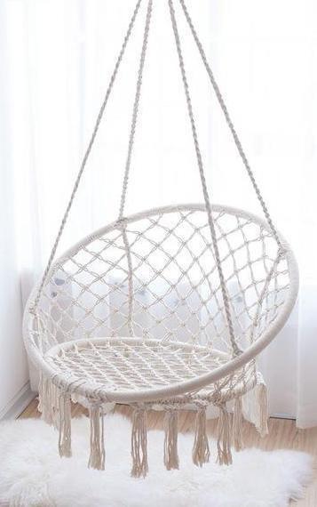 Round Hanging Outdoor Indoor Nordic Style Macrame Handmade Hanging Chair Swing Girl Bedroom Decor Macrame Hanging Chair Hanging Chair