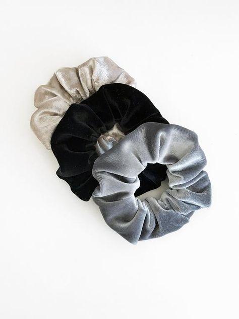 Rows of Hotfix  Dazzling Rhinestone Decorated Satin Hair Elastic Scrunchies