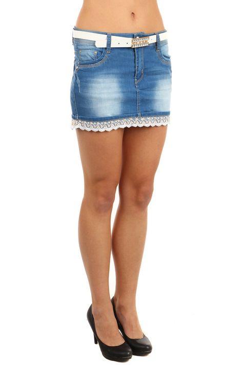 b5be235e56d5 Dámská riflová mini sukně lemovaná krajkou - koupit online na Glara.cz   glara  fashion  sukně  sukne