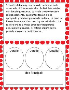 Idea Principal Main Idea And Details Task Cards Spanish Main Idea Task Cards Main Idea Activities