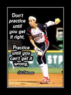 Softball Pitcher Motivation Poster Cat Osterman Photo Quote Wall Art Print Practice Til You Can't Get It Wrong - Free USA Ship by ArleyArt on Etsy Inspirational Softball Quotes, Funny Softball Quotes, Softball Cheers, Softball Shirts, Softball Pictures, Softball Players, Girls Softball, Fastpitch Softball, Softball Stuff