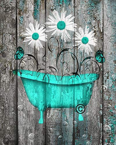Rustic Modern Wall Decor Daisy Flowers Butterflies Turquoise Grey Farmhouse Bathroom 8x10 Inch Pict Turquoise Bathroom Wall Decor Amazon Bathroom Wall Decor Teal wall decor for bathroom