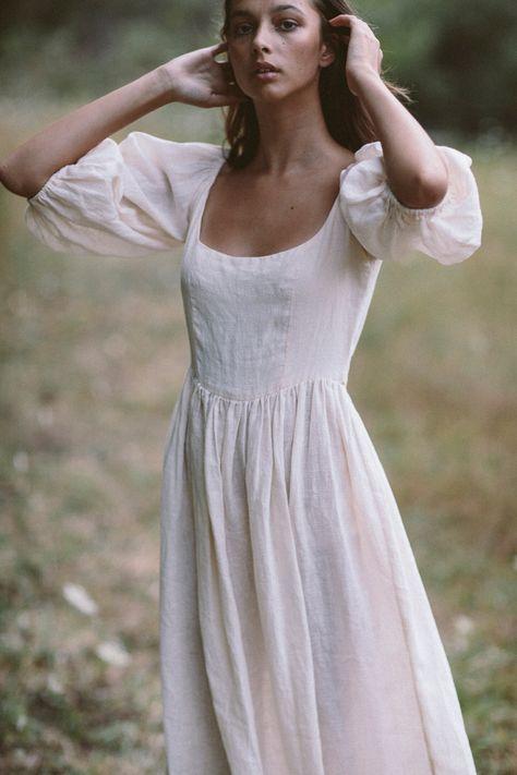 The bellflower midi dress in cream ~ (pre order) — Kara Thoms
