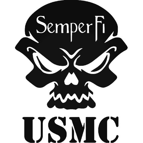 Brand New Usmc Semper Fi Death Skull Sticker and in stock. Self-adhesive, die cut, pre-masked and ready to apply to any smooth surface.High glossy finish, cut from premium 3 mill vinyl, with a life span of 5 - 7 years. Several size and color options are available.