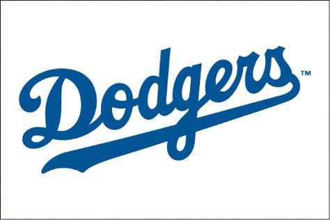 Los Angeles Dodgers Jersey Logo - Dodgers script in blue, worn on home jersey since Wordmark tightened up for 2003 season