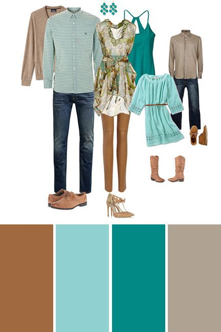 Best Colors For Outdoor Family Pictures Turquoise And Tan Family Picture Color S Fall Family Picture Outfits Family Picture Outfits Family Photoshoot Outfits