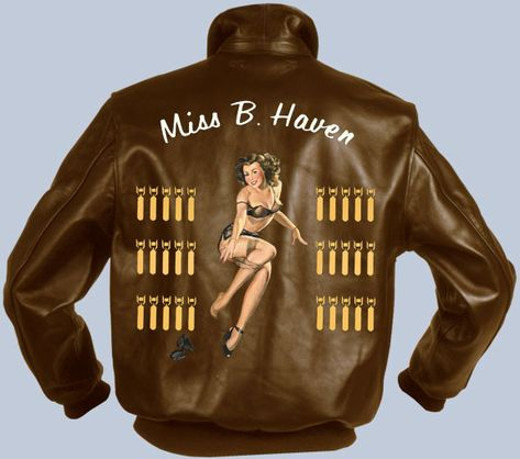 Nose art Miss B. Haven For price or custom configuration please contact us see other Nose art here The price is for the art work only, you need to add your choice of a jacket to the shopping cart.