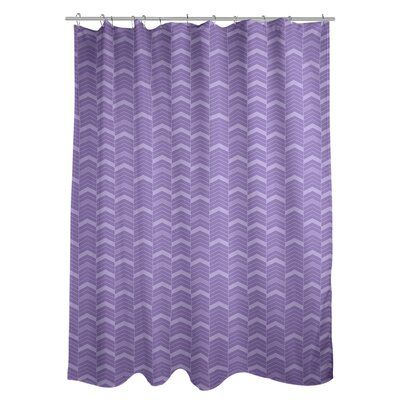 East Urban Home Rhonda Cheval Single Colour Lined Chevrons Shower Curtain Pvc Liner Included Colour Dark Purple Colorful Curtains Curtains Curtain Room