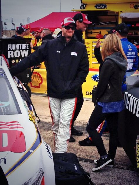.4-7-14 on grid at Texas Dale Jr and girlfriend, Amy Reimann sharing some last minute jokes on the grid!