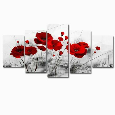 Red Poppy Flowers Artwork Abstract Grey Background Chinese Ink Painting Canvas #fashion #home #garden #homedcor #postersprints (ebay link)