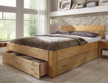 Solid Wooden Bed Tarija With Storage Space Stilbetten De Konigpalettenbett Solid Space Stilb Wooden Bed Design Pallet Furniture Bedroom Bed Frame Design