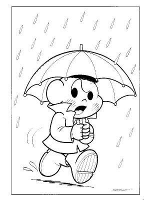 Desenhos Para Colorir Da Turma Da Monica Cascao Com Guarda Chuva