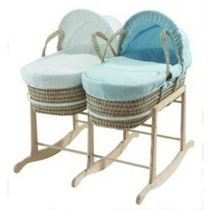 Natural Clair de Lune Wooden Rocking Moses Basket Stand