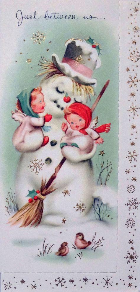 1960's Vintage Christmas Greeting Card ~ Angels & Snowman