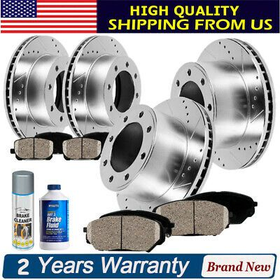 Front+Rear Drill Slot Brake Rotors Carbon Ceramic Pads For 2015 2016 Ford F150